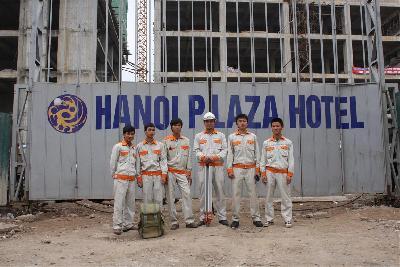 Finished positioning  bore pile, barrete pile, Hanoi Plaza project.